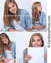 elle, fonctionnement, collage, blonds, bureau, girl