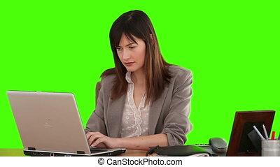 elle, fonctionnement, femme affaires, bureau, joli, complet