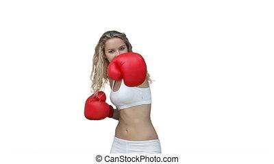 elle, formation, boxe, vêtements, femme