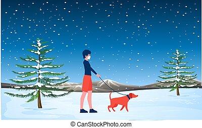 elle, girl, marche, neige, chien