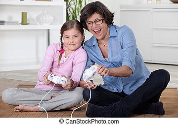 elle, grand-mère, jeux ordinateur, girl, jouer