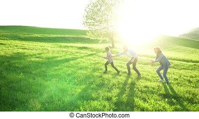 elle, grands-parents, nature., personne agee, dehors, petit, girl, jouer