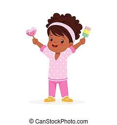 elle, heureux, vecteur, girl, mignon, peu, glace, dessin animé, crème, sentiment, africaine, illustration, caractère