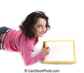 elle, jeune, écriture, papier, enfant, devoirs