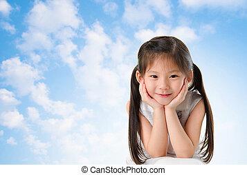 elle, jeune, figure, asiatique, sourire, girl