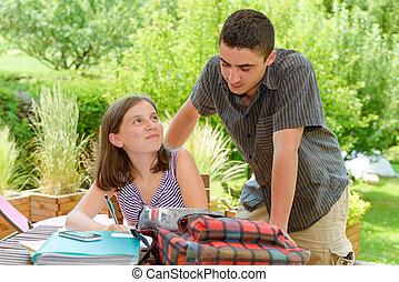 elle, jeune, frère, adolescent, girl, devoirs