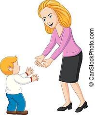 elle, jeune, illustration, fils, jeu mère