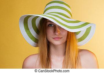 elle, jeune, joli, head., girl, chapeau, horizontal