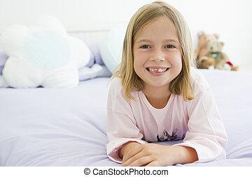 elle, jeune, lit, girl, pyjamas, mensonge