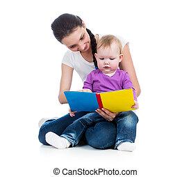 elle, jeune, livre, maman, bébé, lecture