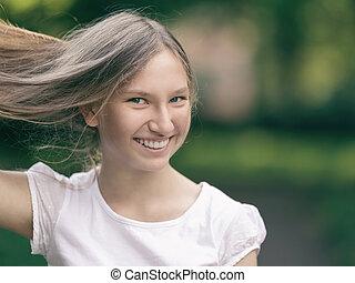 elle, jeune, main, cheveux, tenue, girl