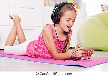 elle, jeune, téléphone, musique écouter, utilisation, girl