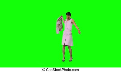 elle, lent, veste, mettre, fâché, mouvement, bas, femme