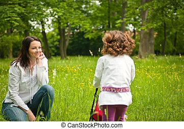 elle, mère, enfant, -, nostalgy, dehors