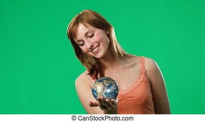 elle, main, globe, tenue, femme