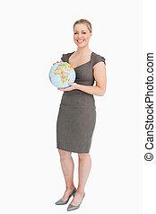 elle, mains, globe, tenue, femme affaires