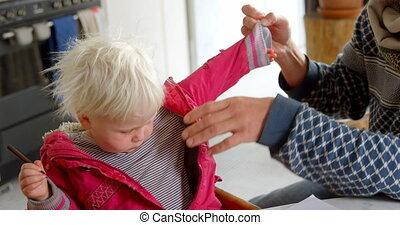 elle, maison, prendre, sien, fille, fermé, veste, père, 4k, ...
