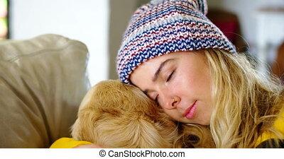 elle, maison, sofa, délassant, 4k, femme, chien