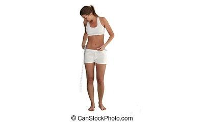 elle, mesurer, ventre, vêtements de sport, dame, brunette