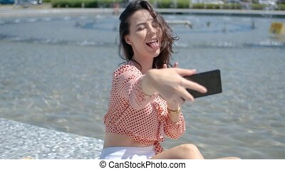 elle, mobile, photo, selfie, téléphone, joli, sexy, girl, takin