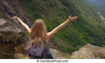 elle, montagnes., jeune, concept, regarder, woman-traveler, sac à dos, there., vallée, voyage, majestueux, bas