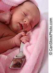 elle, né, cuillère, bouche, bébé, argent