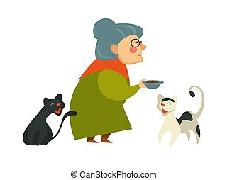 elle, nourriture, bol, deux, chats, tenue, grand-maman, sourire
