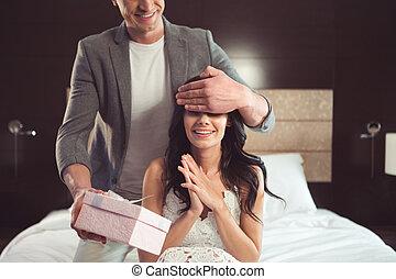 elle, palefrenier, mariée, surprise, réception, excité