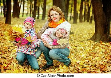 elle, parc, filles, automne, jeu mère