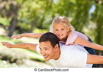 elle, parc, petite fille, père, jouer