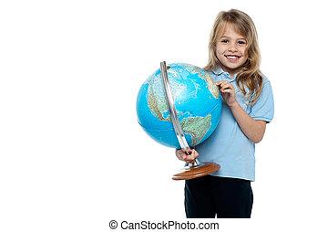 elle, pays, globe, jeune fille, projection, intelligent
