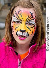 elle, peint, figure, tigre, jolie fille