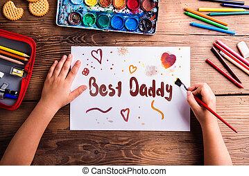 elle, peinture, papa, girl, pères, imaginer jour, ...