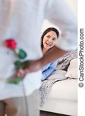 elle, petit ami, sur, femme, fleur, obtenir