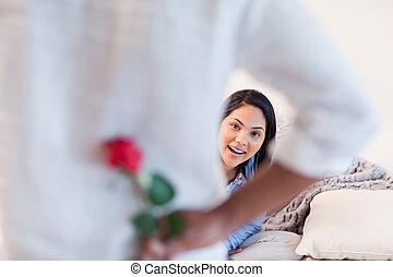 elle, petit ami, sur, femme, rose, obtenir