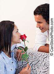 elle, petit ami, valentines, obtenu, rose, jour, femme