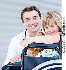 elle, petite fille, docteur, fauteuil roulant, mignon, séance