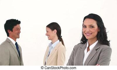 elle, poser, conversation, quoique, collègues, femme affaires, jeune