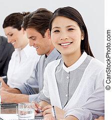 elle, positif, équipe, asiatique, femme affaires, percé,...