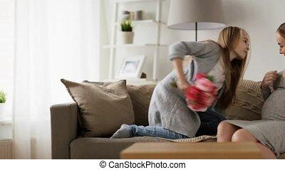 elle, pregnant, donner, mère, maison, girl, fleurs