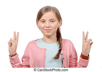 elle, projection, jeune, victoire, mains, girl, geste