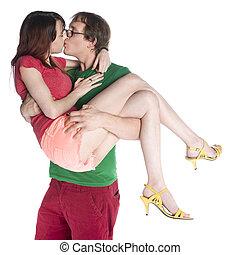 elle, quoique, porter, petite amie, baisers, homme