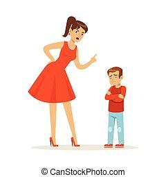 elle, réprimande, caractère, désordre, illustration, fils, vecteur, mère