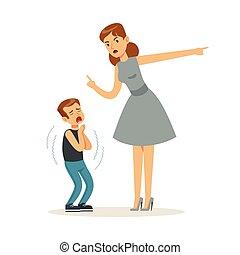 elle, réprimande, caractère, illustration, fils, vecteur, mère, effrayé
