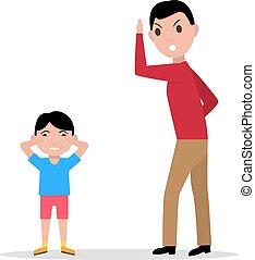 elle, réprimande, fâché, père, vecteur, enfant, dessin animé