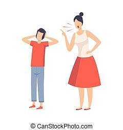 elle, réprimande, garçon, vecteur, parents, illustration, mère, conflit, adolescent
