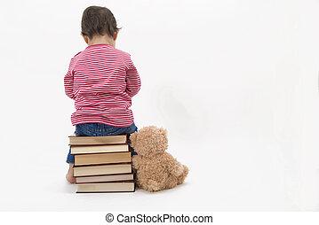 elle, séance, désordre, livres, teddybear, enfant