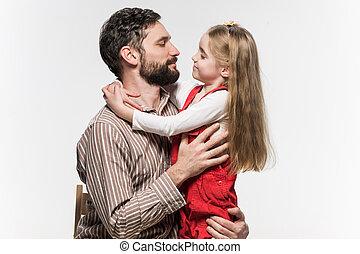 elle, sur, père, étreindre, fond, girl, blanc