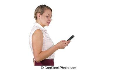 elle, téléphone, femme affaires, jeune regarder, arrière-...
