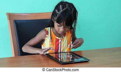 elle, tablette, amours, numérique, utilisation, girl
